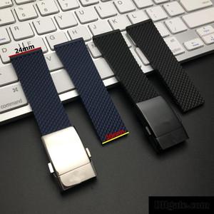 marchio di orologi di qualità nero blu morbida gomma di silicone cinturino per Navitimer / vendicatore / Breitling cinghia 24 millimetri del cinturino Bracciale