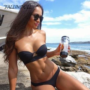 FALLINDOLL 2019 Maillots de bain Femme Bikini Brésilien Repousser le fil en noir Vintage rembourré Bikinis Femme maillot de bain femme LY191224