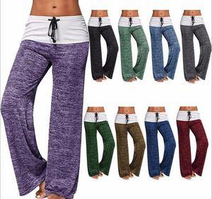 Womens Pantalon de yoga stretch Comfy souple Flare Wide Leg Workout Legging Patchwork Boot Cut Pants KKA7841