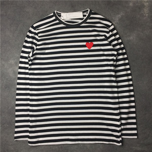 Herren-T-Shirts Japanische Mode Augen-Liebe Stickerei Langarm High Street Streifen langärmelige Loose Women-T-Shirts der beiläufigen Kleidung