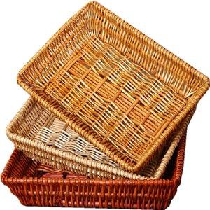 Wicker Sistema Willow Weaving Rattan retangular Weaving Fruit Bread Legumes Mostrar Breadbasket Weaving Cesta de armazenamento T200602