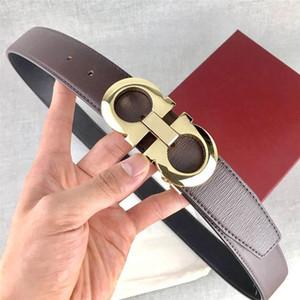 Moda Hombres Cinturones de diseño mujer del hombre de lujo marca de la correa Carta Smooth hebilla de Ancho 3.5cm alta calidad con la caja