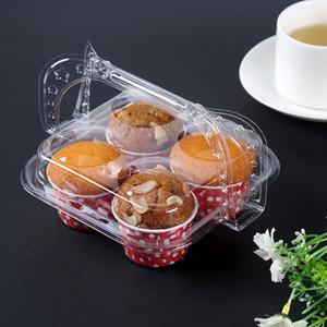 Clear Plastic Cupcake Basket Container with Handle Disposable Dessert Cake Packaging Boxes for Kitchen Baking Accessories
