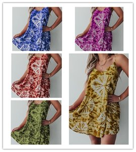 Summer Women Tie-Dye Printed Dresses Sleeveless Round Neck Knee-Length Beach Dress Trendy Ladies Plus size Slip Dress Clothing S-3XL LY609