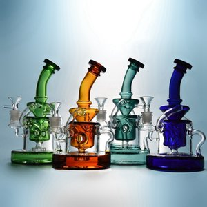 Tornado Recycler Bong Heady Glass Dab Rigs Klein Recycler Glass Water Pipes Showerhead Percolator Bong Base pesada Bong de vidrio con un tazón WP308