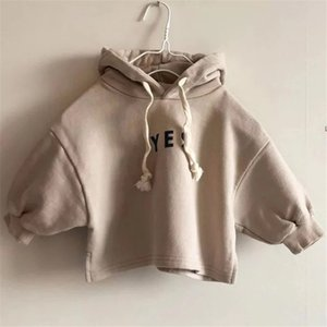 JK Newest INS Little Girls Boys Hoodies High Quality Velvet Cotton Straps Puff Sleeve Hooded Autumn Winter Children Kids Outwears