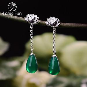Lotus Fun real prata esterlina 925 brincos de ágata natural Handmade Fine Jewelry Water Drop Lotus brincos para mulheres Brincos