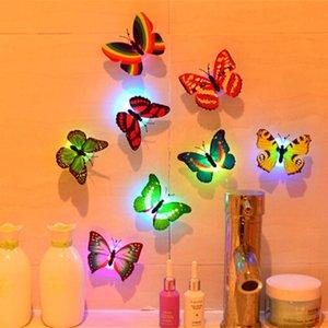 10 Pcs Wall Night Lights Decoração Mix Color Borboleta Adesivos de Parede Night Light Piscando Colorido CONDUZIU a Lâmpada Home Decor