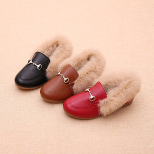 Kindermode Metallkette Schuhe Winter Warm Junge Mädchen Schwarz Braun Pelz Flache Gummi Anti-Rutsch-Leder Velvet Fluffy Fur Kinder Loafers