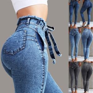 Plus Size Womens Ladies Casual High Waist Stretchy Denim Pants Jeans Pencil Pant Trouser S-5XL