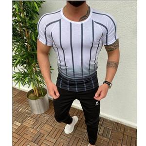 T-Shirts Streifen Quick Dry Herren T-Shirt lose Fitness Sommer Gradient Designer Männlich Kleidung-Rundhalsausschnitt Kurzarm