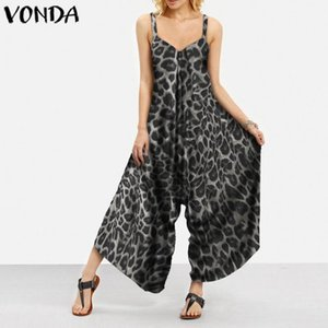 VONDA Casual Loose Rompers Womens Jumpsuits Summer Sexy Sleeveless Vintage Leopard Printed Long Overalls Femme Retro Playsuits