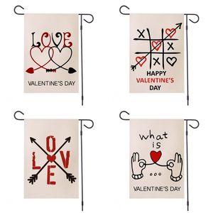 Romantic bandiera del partito Bandiere impermeabile freccia Love Letter stampata cuore Garden Bandiera Fit all'aperto San Valentino 12 '' * 18 '' 9HY E1