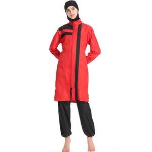 Muslim Swimwear Islamic Women Zipper Full Coverage Beach Sun Protection Sports 3 Piece Sets Bathing Suit Swim Surf Wear Swimsuit