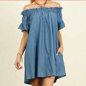 женщины с плеча с коротким рукавом Карманы Сыпучие Повседневная рубашка платье Женщины Мини Denim Sundress Плюс Размер Летний джинсовое платье 5XL