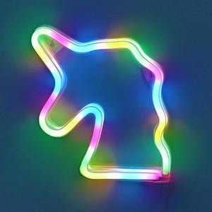 Romantique INS Ins LED Néon Inscrivez-vous Flamingo Licorne Tube Lumière Lune Nuage Neon Ampoules Signe Lampe De Noël Fête De Noël Maison Décoration Murale Éclairage