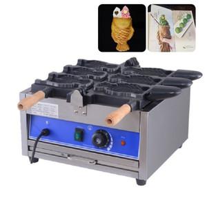 Ticari 3 adet elektrikli ağzı açık dondurma Taiyaki makinesi balık şekil gözleme koni makinesi fırıncı pişirme demir