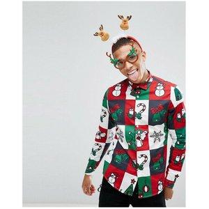 2019 Costume Trend uomini di modo della camicia pulsanti Festival di Natale Babbo Natale a maniche lunghe Top divertente modello casuale che si siede Camicie