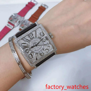 Full Diamond Lady Watch Japanisches Quarz Fashion Square Woman Helle Saphirglas Uhr Edelstahlgehäuse schwarz Lederarmband