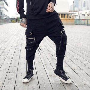 Mens Ankle Banded Cross Pants Fashion Drawstring Multi Pockets Ribbon Loose Black Harem Sweatpants Hip Hop Men Streetwear Joggers