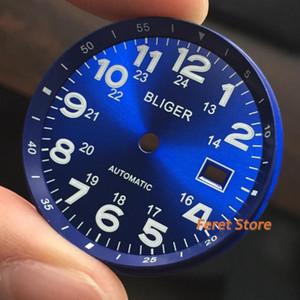 새로운 Bliger 최고 럭셔리 33mm 블루 발광 다이얼 날짜 창 표시는 2824 2836 미요 타 8215 8205 821A 운동 남성 시계에 맞게