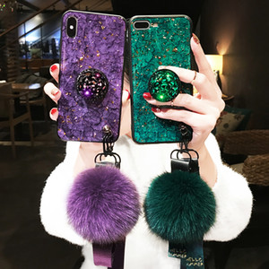 For iPhone X XS Max XR Fire Cracked Marble Hairball Lanyard Mobile Shell iphone 7 8 6 6s Plus Rhinestone Bracket