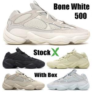 500 Osso Branco Melhor Qualidade Running Shoes Mens Womens Super Lua amarela Utility Preto Blush Sal Kanye West Designer Shoes Sports Sneakers