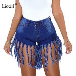 Liooil femmes bleu Denim Jeans avec Tassel Pocket 2020 Streetwear élastique taille haute Distressed Wash Sexy Rave Jean Cotton Shorts
