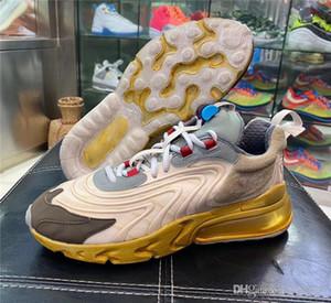 2020 Nouvelle authentique Travis Scott x Shoe 270 React Crème Légère foncé Noisette Mica Starfish Courir Sneakers Chaussures authentiques US5.5-12