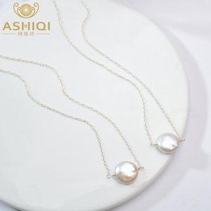 kadınlar için ASHIQI Doğal tatlı su inci 925 Gümüş Kolye 12-13mm Düğme şekli inci Takı