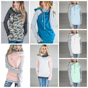 Двойной карман с капюшоном пуловер толстовка топы 10 цветов женщины пуловер толстовка боковая молния лоскутное шнурок толстовка пальто OOA4711