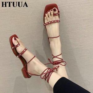 HTUUA 2020 New Women Sandals Summer Shoes Woman Ankle Strap Gladiator Sandals Casual Beach Sandalias Mujer SX4116
