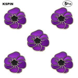 Bandeira Pin roxo da flor da papoila Broches lapela broche emblema Pinos Badges 5pcs a Lot