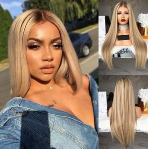 İNGILTERE Doğal Kadınlar Uzun Ombre Sarışın Peruk hakkında detaylar Sentetik Düz Tam Saç Peruk şapka