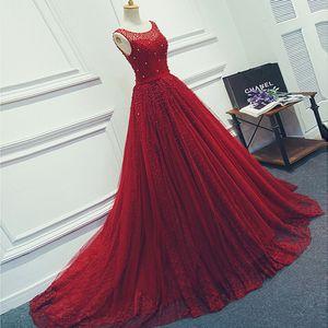 2019 Vino rojo Vestidos de fiesta de tul con cuentas de lujo Vestido de noche largo Apliques de encaje Sin mangas Una línea Vestido formal Traje de fiesta personalizado