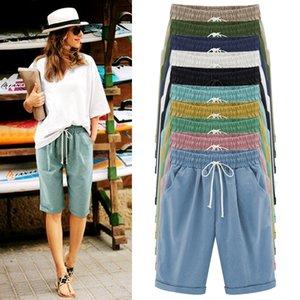 Verão Calça Casual Feminino Cinco minutos Pants Fina Wear fora no tamanho grande Gordura Mulheres Cor Multicolor