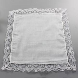 25cm dentelle blanche mince Mouchoir 100% coton serviette Femme fête de mariage cadeau décoration tissu serviette bricolage Plaine Blank Mouchoir DBC BH2669