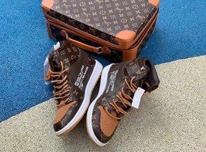 Louis Vuitton x Nike Off White x Jordan 1 NakeskinGiordaniaScarpe, scarpe sportive AJ1 UNC basket retrò degli uomini delle donne delle scarpe da tennis
