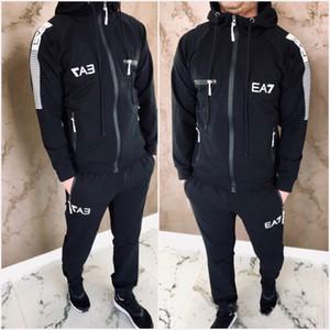 Lettera stampata 2020 Tracksuit Fashion Zipper Cardigan Uomo Abbigliamento sportivo Due pezzi Set con cappuccio + Pantaloni Sporting Abiti Top Quality