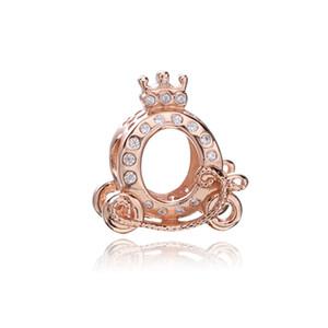 18CT Rose Gold überzogen Über 925 Sterling Silber Krone mit klaren Cz Charm Passend europäischen Pandora Style Beads Armbänder