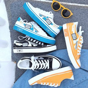 Canvas shoes, men's low top, spring trend in 2020, all kinds of Korean white breathable summer graffiti students' casual shoes