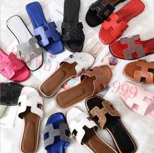 With box 2020 new slippers sandals flat shoes real leather slippers high quality slippers sandals Huaraces loafers ladies shoes