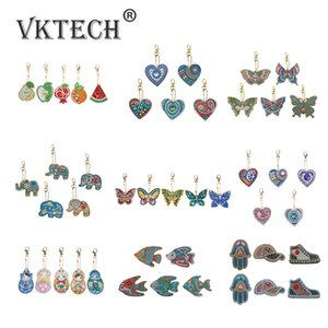 Point de croix tas de bricolage spécial en forme de diamant pleine foret peinture Keychain Kits papillon / Amour Coeur de diamant Peinture de point de croix ...