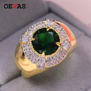2020 CZ Green Zircon men ring high quality Gold color Wedding jewelry Engagement ring size 7 8 9 10 11 12 Bague