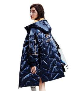 Neue Glossy Daunenmantel Frauen Winter Warme Mit Kapuze Unten Parka Jacke Frauen 90% Weiße Ente Daunenjacke Mantel Damen Lose Mantel