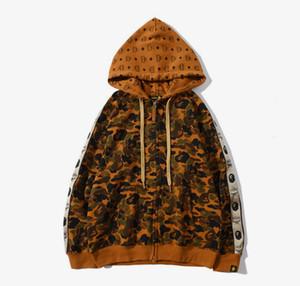 Neue Ankunftmens-Designer-Jacke bcBape ReißverschlussHoodie Trenchcoat Street Herren Designer-Wüsten-Tarnung Bap Druck Sweatshirts Mantel