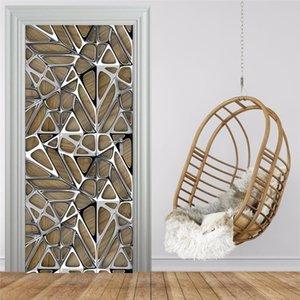 Porta Art Modern Geometry Etiqueta 3D Imitação da textura do metal Photo Wallpaper Vivo Estudo Quarto Luxo Home Decor 3D Wall Stickers T200331