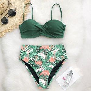 Sexy Bikini-Badeanzug 2020 Frauen Bademode Push Up Bikinis eingestellt Blatt drucken weibliche hohe Taille Schwimmanzüge Badeanzug
