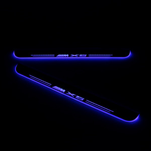 A prueba de agua en movimiento LED Recepción del pedal del coche placa del desgaste del travesaño de la puerta del pedal Camino de luz para BMW X5 E53 E70 F15 G05