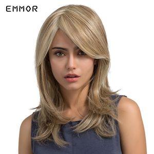 Hamor Synthetic Mix Blonde e Brown Perucas para Branco / Preto Mulheres reta longa resistente ao calor de fibra Partido Cosplay Wigs